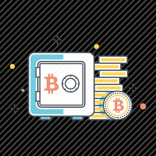 bitcoin, box, database, drive, safe, storage, vault icon