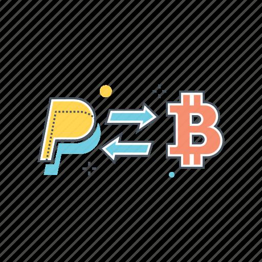 bitcoin, exchange, money, paypal, transfer icon