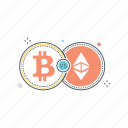 bitcoin, blockchain, crypto, cryptocurrency, ethereum, exchange, money icon