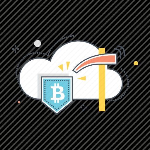 bitcoin, cloud, computing, data, internet, mining, pickaxe icon