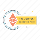 accepted, blockchain, cryptocurrency, currency, ethereum, here, payment icon