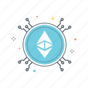 blockchain, crypto, cryptocurrency, currency, ether, ethereum, mining icon