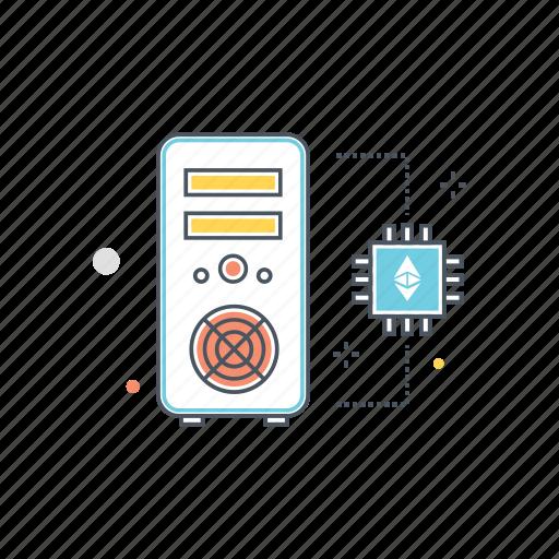 chip, cpu, ethereum, hardware, microchip, mining, technology icon