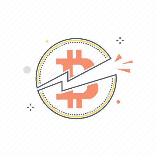 bitcoin, crypto, cryptocurrency, cut, half, halving, technology icon