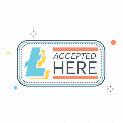 accepted, business, currency, here, litecoin, money, payment icon