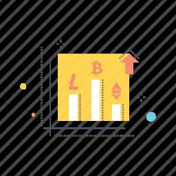 analysis, bitcoin, chart, ethereum, investment, litecoin, stocks icon