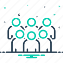 association, cluster, conglomeration, crowd, group, organization, troop icon