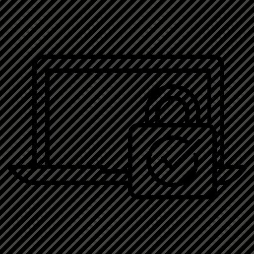 computer, padlock, security icon