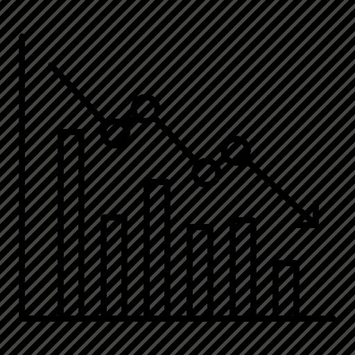 analytics, business, chart, falling profits, finance, graph icon