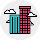 buildings, business, city, district, modern, office, skyscraper icon