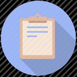 board, checklist, clip, clipboard, document, information, list icon