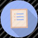 check list, document, file, information, list, paper