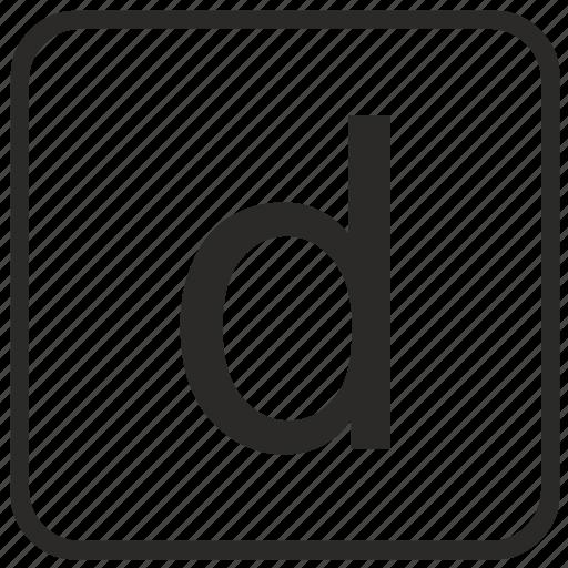 alphabet, d, english, keyboard, letter, lowercase, vurtual icon