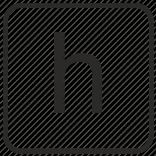 alphabet, english, h, keyboard, letter, lowercase, vurtual icon