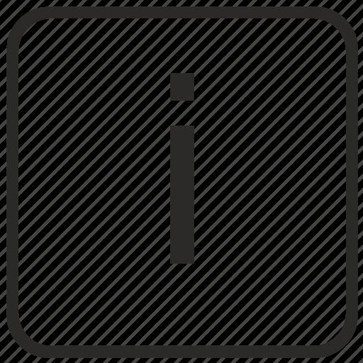 alphabet, english, i, keyboard, letter, lowercase, vurtual icon