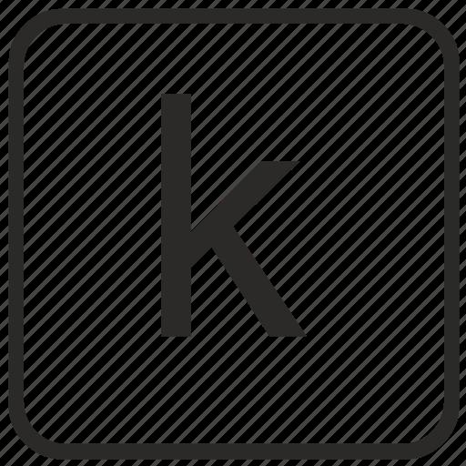 alphabet, english, k, keyboard, letter, lowercase, vurtual icon