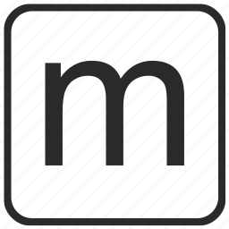 alphabet, english, keyboard, letter, lowercase, m, vurtual icon