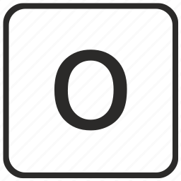 alphabet, english, keyboard, letter, lowercase, o, vurtual icon