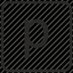 alphabet, english, keyboard, letter, lowercase, p, vurtual icon