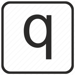 alphabet, english, keyboard, letter, lowercase, q, vurtual icon
