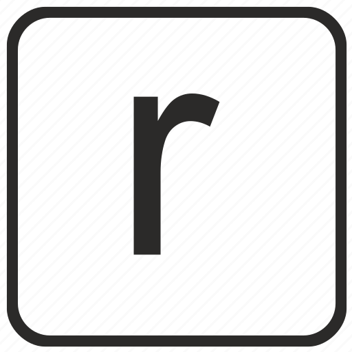 alphabet, english, keyboard, letter, lowercase, r, vurtual icon