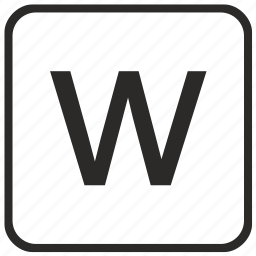 alphabet, english, keyboard, letter, lowercase, vurtual, w icon
