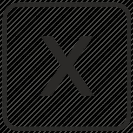 alphabet, english, keyboard, letter, lowercase, vurtual, x icon