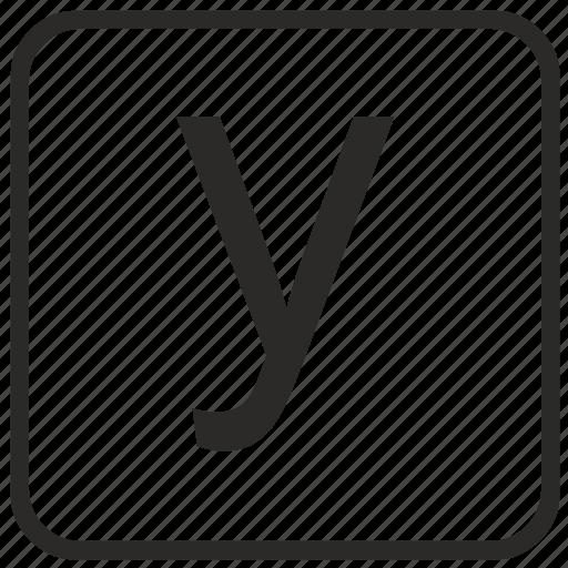 alphabet, english, keyboard, letter, lowercase, vurtual, y icon
