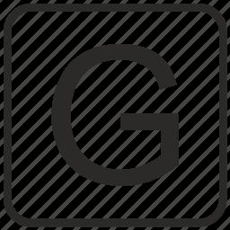 alphabet, english, g, keyboard, letter, uppercase, vurtual icon