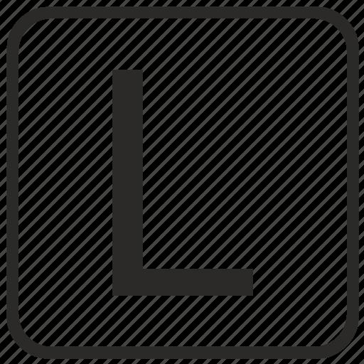 alphabet, english, keyboard, l, letter, uppercase, vurtual icon