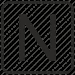 alphabet, english, keyboard, letter, n, uppercase, vurtual icon