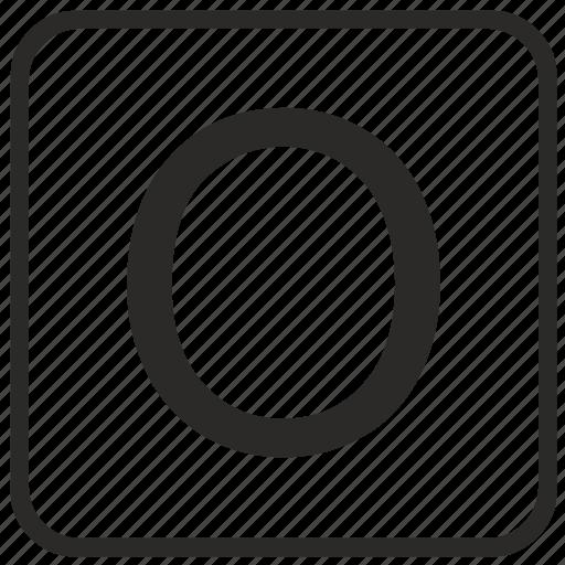 alphabet, english, keyboard, letter, o, uppercase, vurtual icon