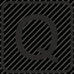 alphabet, english, keyboard, letter, q, uppercase, vurtual icon