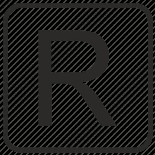 alphabet, english, keyboard, letter, r, uppercase, vurtual icon