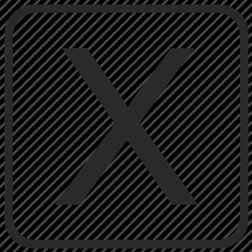 alphabet, english, keyboard, letter, uppercase, vurtual, x icon