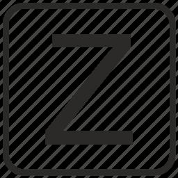 alphabet, english, letter, uppercase, z icon