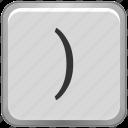 bracket, keyboard, math, right, sign icon