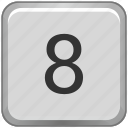 eight, key, keyboard, number icon