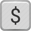 currency, dollar, key, keyboard, label, sign icon