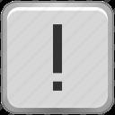 exclamation, key, keyboard, mark icon