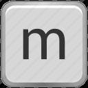 case, key, keyboard, letter, lower, m icon