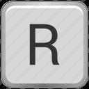 case, key, keyboard, letter, r, upper icon