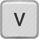 case, key, keyboard, letter, lower, v icon