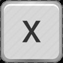 case, key, keyboard, letter, lower, x icon
