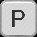 case, key, keyboard, letter, p, upper icon