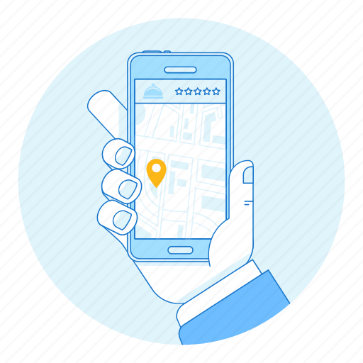 app, booking, gps, hotel, map, mobile, phone icon