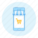 awning, cart, marketing, mobile, phone, shop, shopping icon