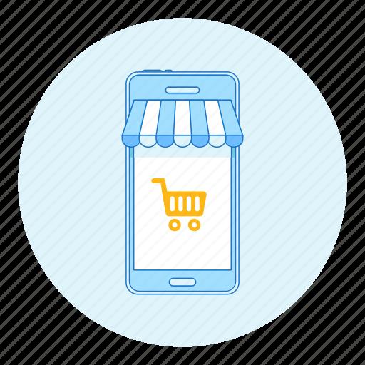 awning, cart, marketing, mobile, phone, shop, shopping icon