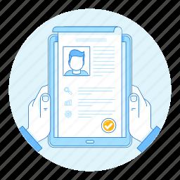 app, hand, hr, pc, resume, tablet, vacancy icon