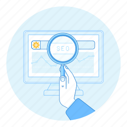 glass, hand, magnifier, magnifying, search, seo, smm icon